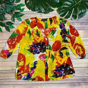 Antonio Melani Yellow Floral Career Blouse